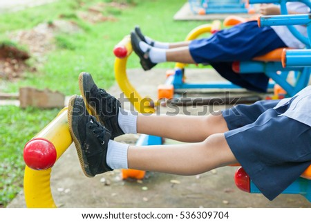 Children playground park in school at Thailand.(Selective Focus)
