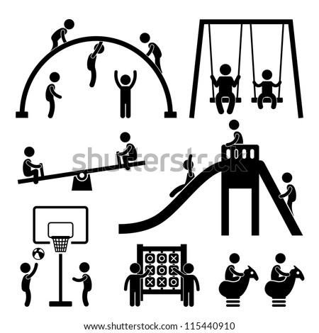 Children Playing at Playground Park Outdoor Stick Figure Pictogram Icon - stock photo