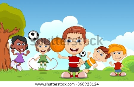 Children playing basketball, jumping rope, soccer in the park cartoon - stock photo