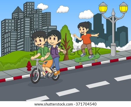 Children playing bicycle and skateboard on the street cartoon - stock photo