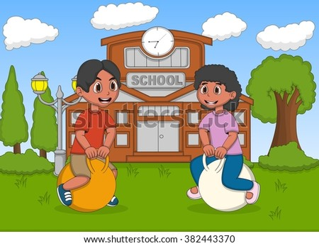 Children playing bouncing ball in the school image illustration