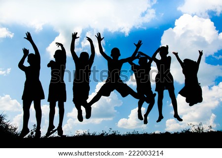 children playing happy time , Silhouette concept - stock photo