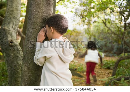 Children playing hide and seek