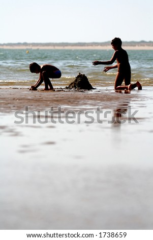 Children playing in the beach