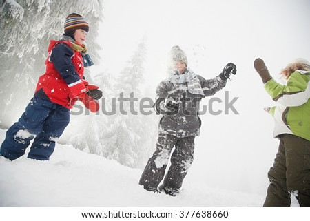 Children playing in the snow - stock photo