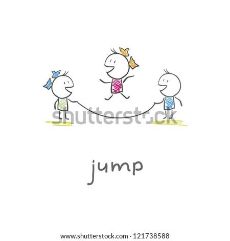 Children playing jumping rope - stock photo