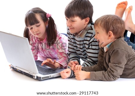 Children Playing on Laptop