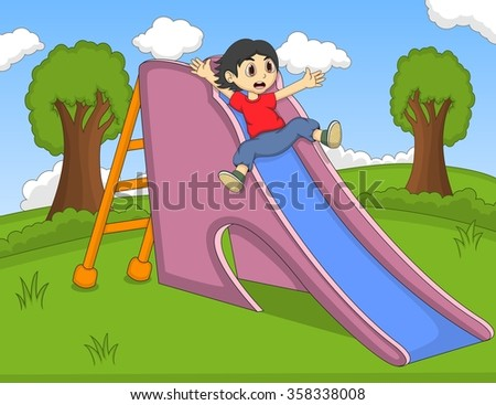 children playing slide at the park cartoon