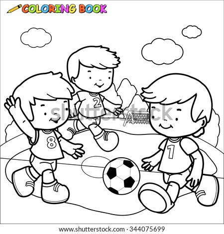 Children Playing Soccer Coloring Book Page Stock Illustration ...