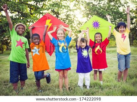 Children Playing Superheroes - stock photo
