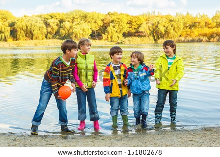 Children playing with a ball - stock photo