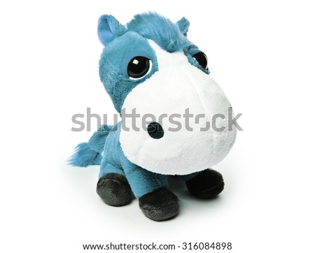 Children plush horse isolated on a white background - stock photo