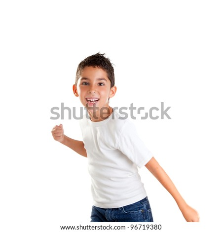 children punch boy funny gesture smiling on white background - stock photo