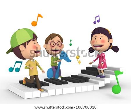 Children ride the piano - stock photo