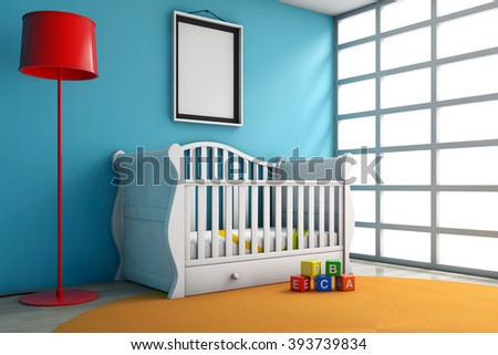 Children Room with Bed, Lamp and Blank Photo Frame extreme closeup - stock photo