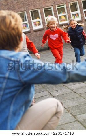 Children running - stock photo