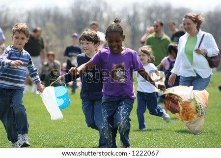 Children running at Easter Egg Hunt - stock photo