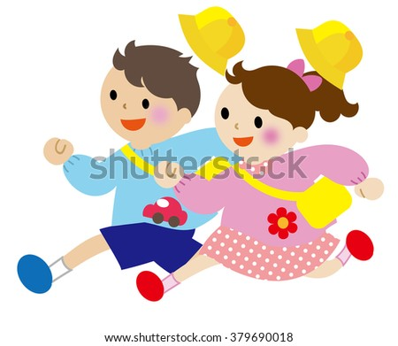 Children running Kindergartener - stock photo