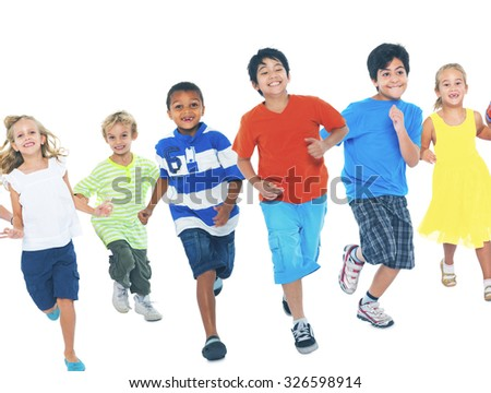 Children Running Playing Together Enjoyment Cute Concept