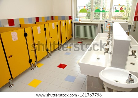 Childrens Bathrooms Kindergarten Stock Photo Royalty Free