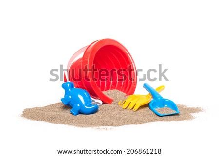 children's beach toys isolated on white background - stock photo