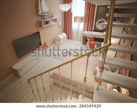 Children's bedroom in classic style. 3d render