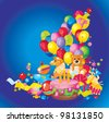 Children's birthday: toys, birthday cake, balloons and gift boxes - stock photo