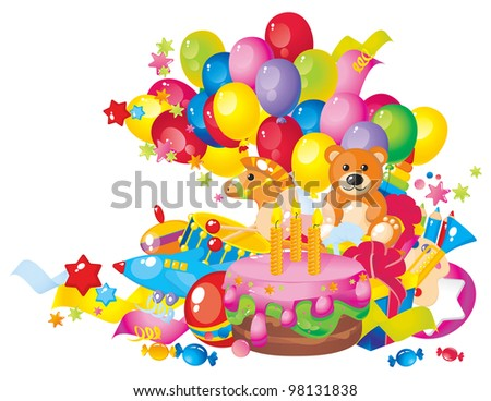 Children's birthday: toys, birthday cake, balloons and gift boxes - stock photo