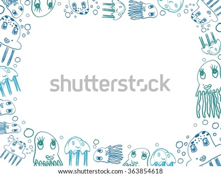children's blue jellyfish drawings horizontal frame isolated on white - stock photo