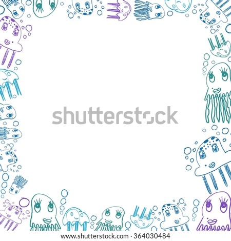 children's blue jellyfish drawings square frame isolated on white - stock photo