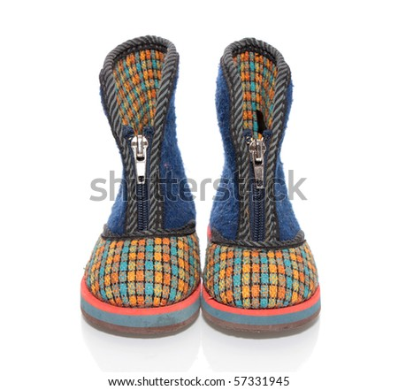 Children's boots on a white background it is isolated.