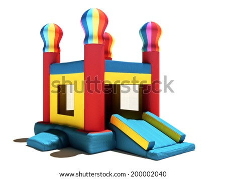 Children's Bounce house on a white background. - stock photo