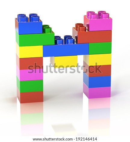 children`s brick toy font letter M - stock photo