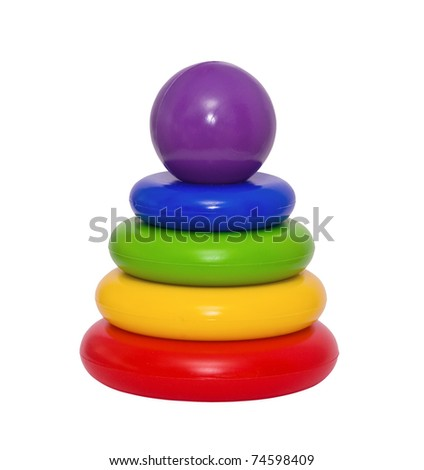 Children's bright toy on the white background - stock photo