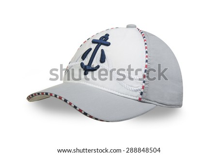 Children's cap on a white background - stock photo