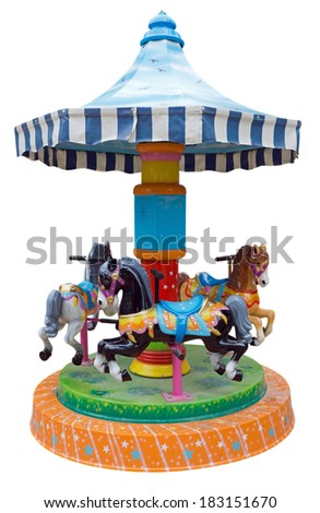 Children's carousel with horses isolated on white. Clipping Path included. - stock photo