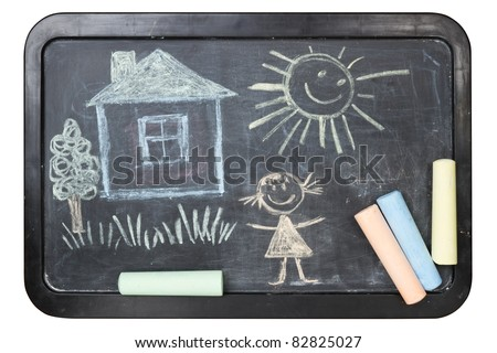 Children's chalk drawing on school board - stock photo
