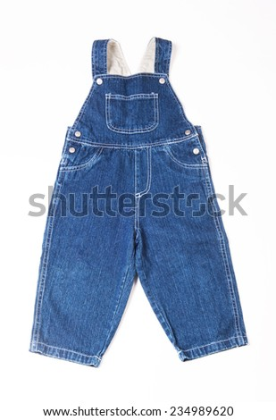 Children's denim overalls isolated on white background - stock photo
