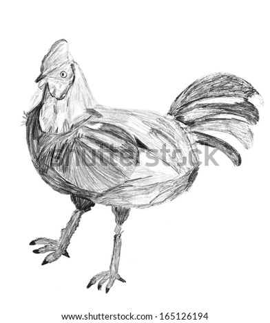 children's drawing - chicken on white background - stock photo