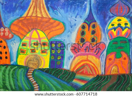 childrens drawing houses mushrooms gouache pastel on paper - Children Drawing Pictures For Painting