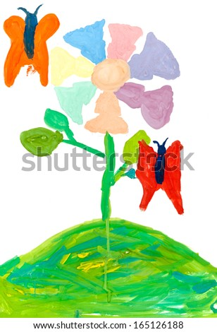 children's drawing - magic seven-petal flower and butterfly - stock photo