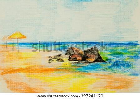 "Children's drawing ""The Beach"" - stock photo"