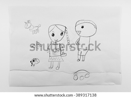 Children's drawings - stock photo