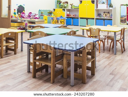 children's furniture and toys in kindergarten - stock photo