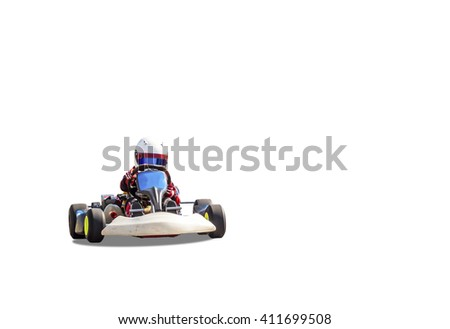 children's go-kart driving on a white background
