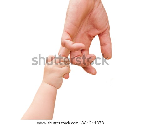 children's hand holds the hand of the father isolated - stock photo