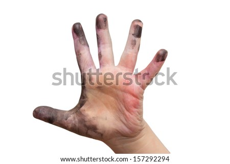 Children's hand in the paint on a white background - stock photo