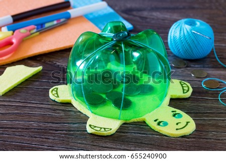 Childrens Hand Made Article From A Plastic Bottle Piggy Bank For Money Handmade
