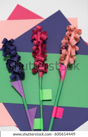 Handicraft paper flowers made colorful paper stock photo edit now childrens handicraft paper flowers made of colorful paper and glue rolled up paper mightylinksfo