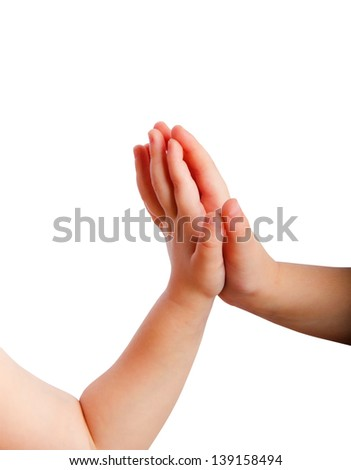 Children's hands close-up on white background